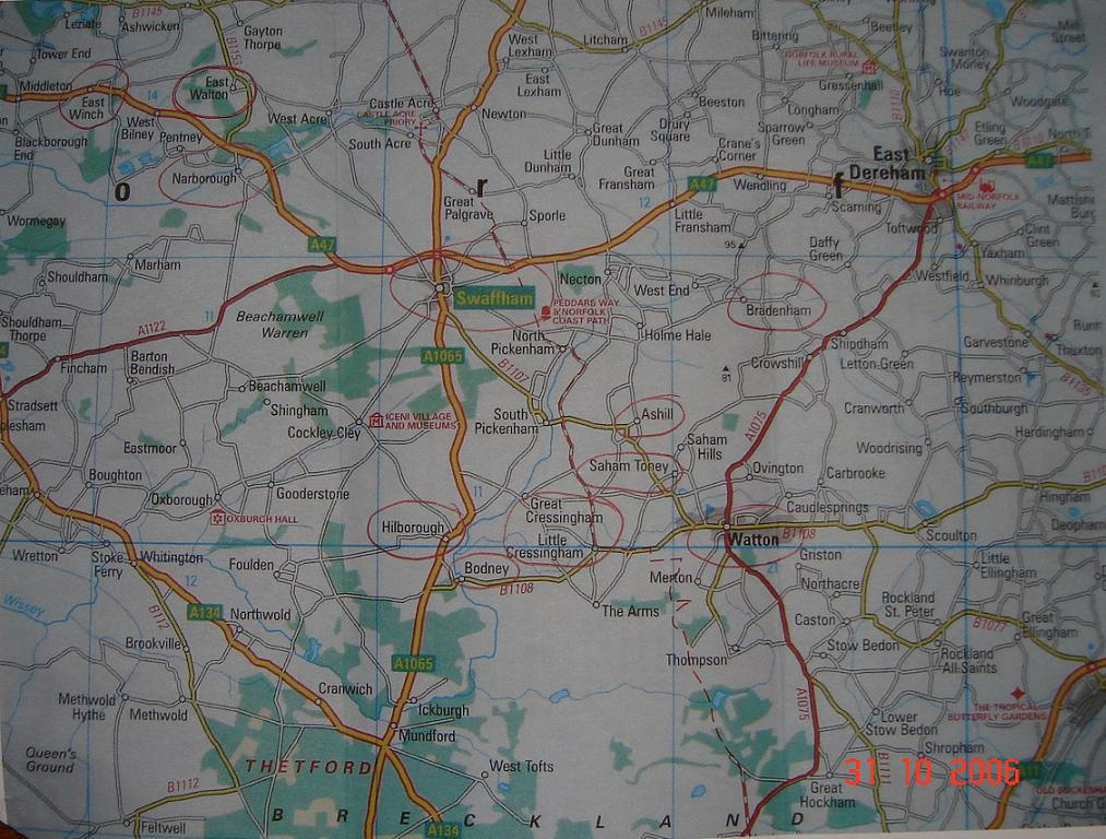 Map of Swaffham district / Norfolk / England.