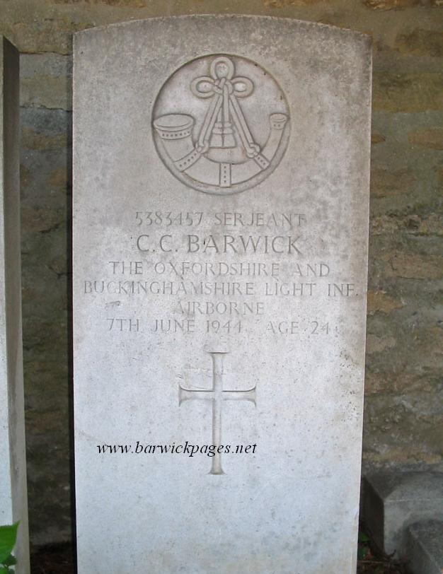 The War Grave of Christopher Cyril Barwick (Pete).
