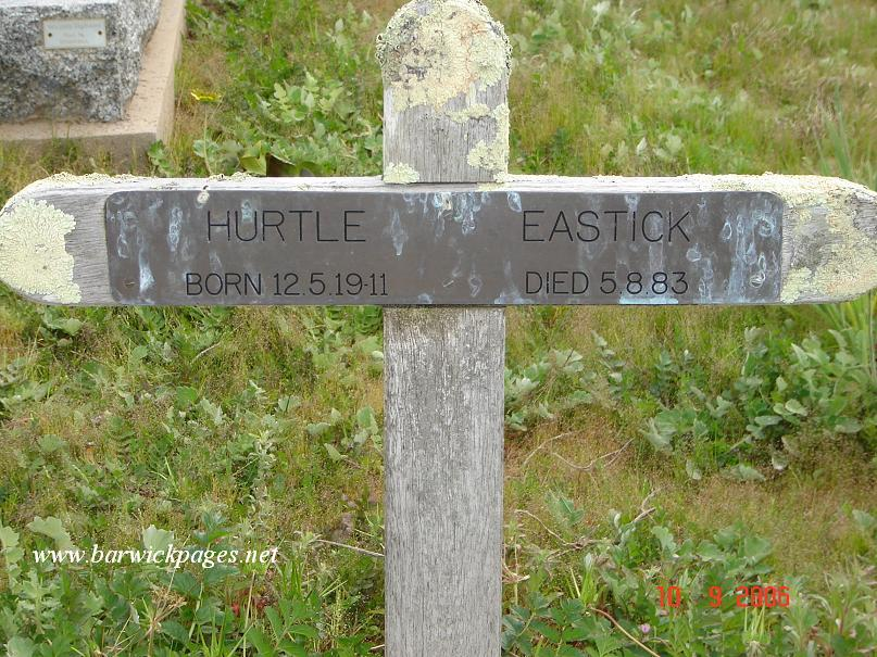 Hurtle Eastick's Headstone