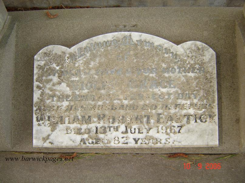 Headstone of William & Violet Eastick(King)